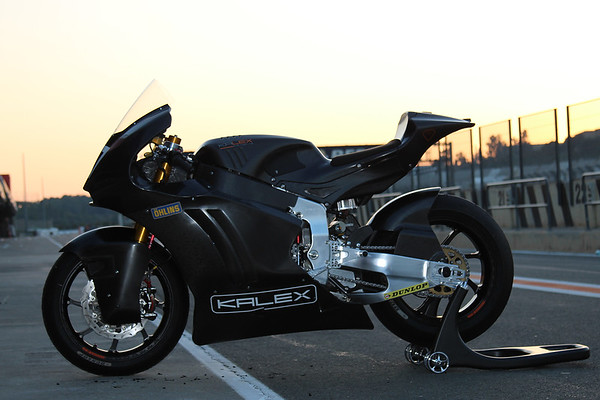The first prototype of Kalex' Moto2 bike with the Triumph 765 engine, pit lane, Valencia, sunset