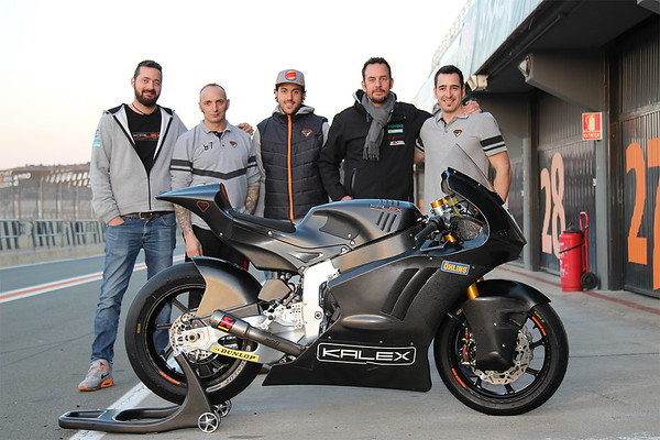 Kalex Moto2 bike with a Triumph engine at Valencia, with the Kalex engineering firm