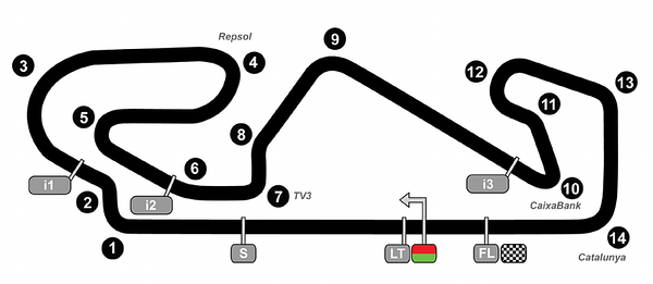 The layout of the Circuit De Catalunya near Barcelona for MotoGP