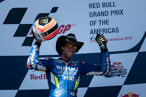 Alex Rins on the podium after winning the 2019 Americas Grand Prix at COTA in Austin