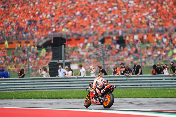 Red Bull athlete Marc Marquez in front of a sea of orange KTM fans at Spielberg in Austria, 2019