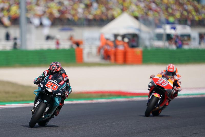Fabio Quartararo leads Marc Marquez at the 2019 Misano round of MotoGP
