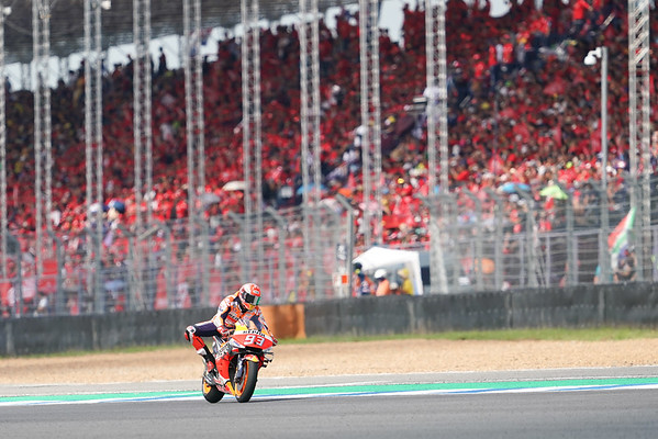 Marc Marquez in front of packed grandstands at Buriram, Thailand