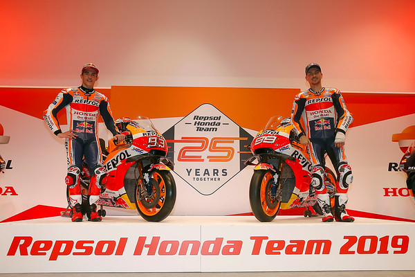 Marc Marquez and Jorge Lorenzo at the 2019 Repsol Honda presentation