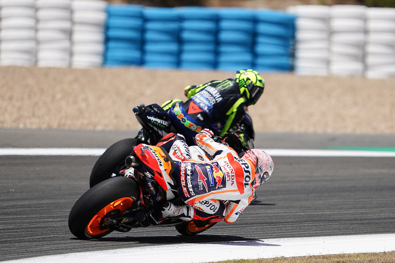Marc Marquez and Valentino Rossi at the Jerez MotoGP round in 2020