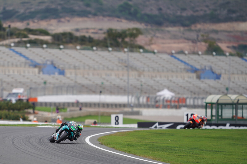 Franco Morbidelli climbs the hill and slides through Turn 13 at Valencia