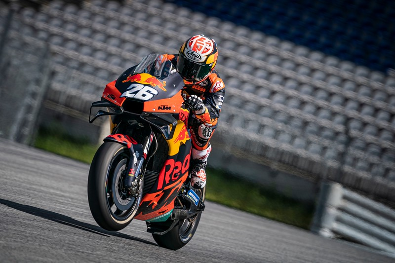 Dani Pedrosa testing the KTM RC16 at the private test in Spielberg in May 2020 - Photo from KTM Press