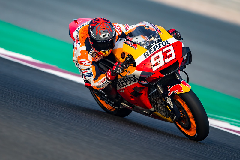 Marc Marquez on the Honda RC213V at the 2020 Qatar MotoGP Test - photo Polarity Photo