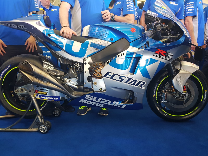 The Suzuki GSX-RR MotoGP machine during the presentation at the Sepang test in February