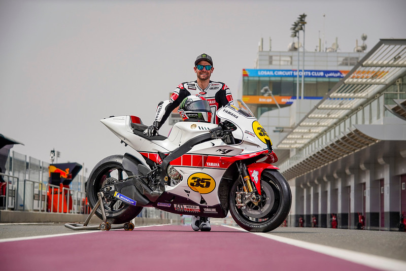 Special red and white speedblock Yamaha livery for Cal Crutchlow at the Qatar test, celebrating 60 years of racing for the Japanese manufacturer