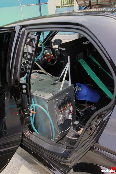 Everything that bears weight on this car was relocated  to the passenger area including various computers, fuel tank, relay boxes, and various fluid pumps.