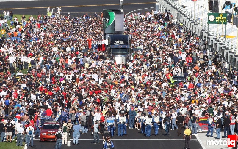 Fans crowd pit road before the Rolex 24 at Daytona Grand-American Rolex Series race , Daytona International Speedway, Daytona Beach, FL, January 2011.