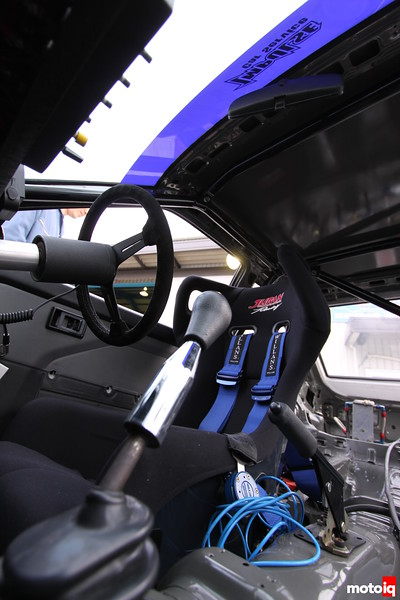 Another camera angle that required a small body, flexibility, and my back to be pricked by sharp ends of zip-tie. Shifter, Juran Racing bucket, and Willans Harness.