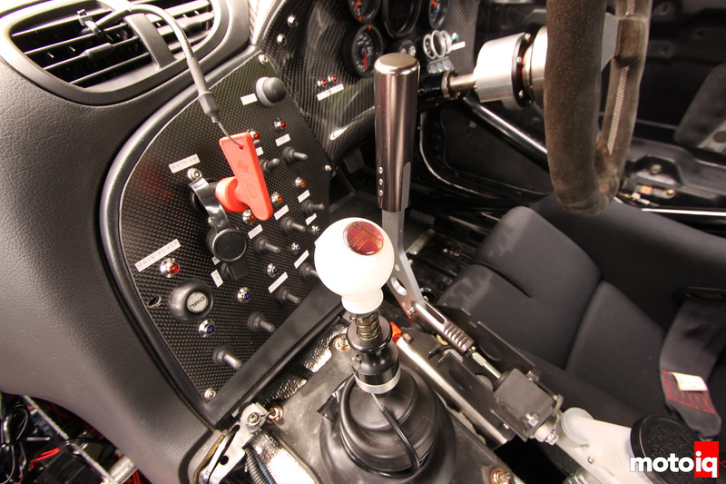 Switches that rival a airplane cockpit. HKS sequential shifter and drift initiation brake handle and master cylinder.