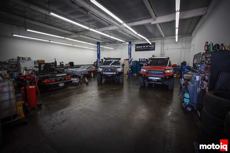 Jimahajer Garage with some Toyota trucks, an MR-2, and an S13 240SX