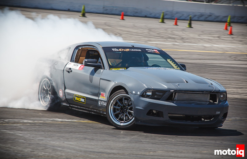 Grey S197 Mustang drifting to right of frame