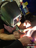 TIG welding the new Vibrant intercooler tubing sections.