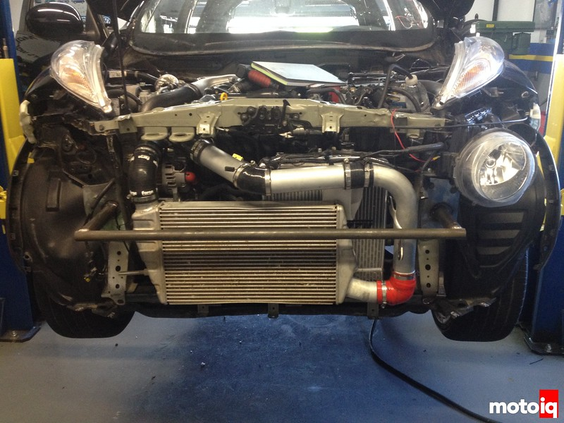 replaced the front radiator with a unit that was to small resulting in a damaged engine and installed an inter cooler from an EVO x 2.5 times bigger than stock and still very light weight and light weight bumper bar