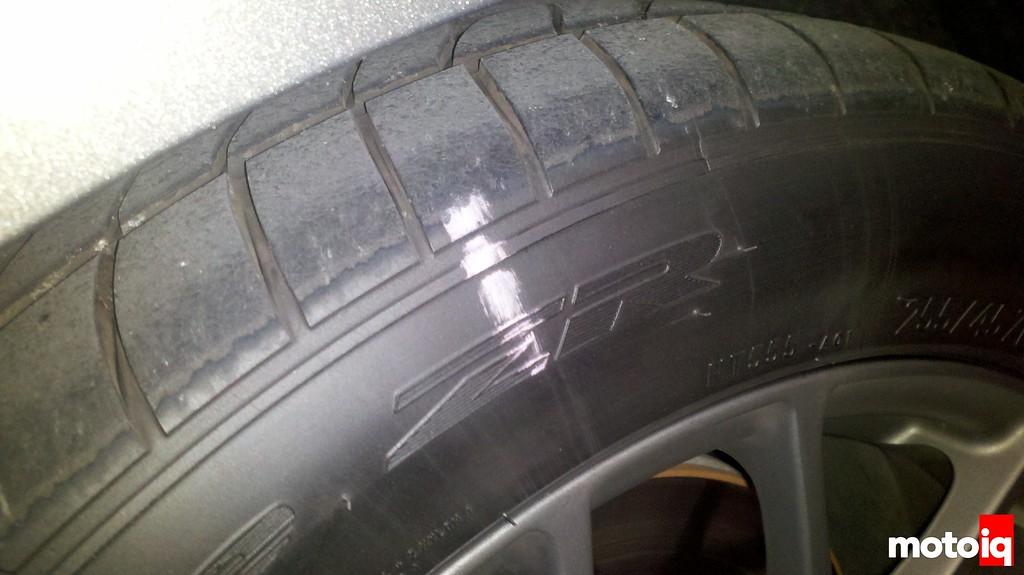 Tire chalk marks