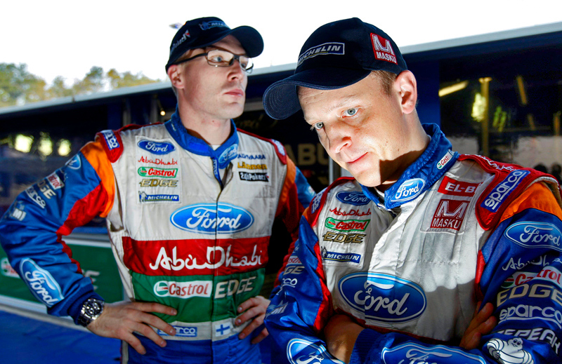 Ford Abu Dhabi World Rally Team drivers, Mikko Hirvonen and Jari-Matti Latvala in service after shakedown on the 2011 Rallye de France