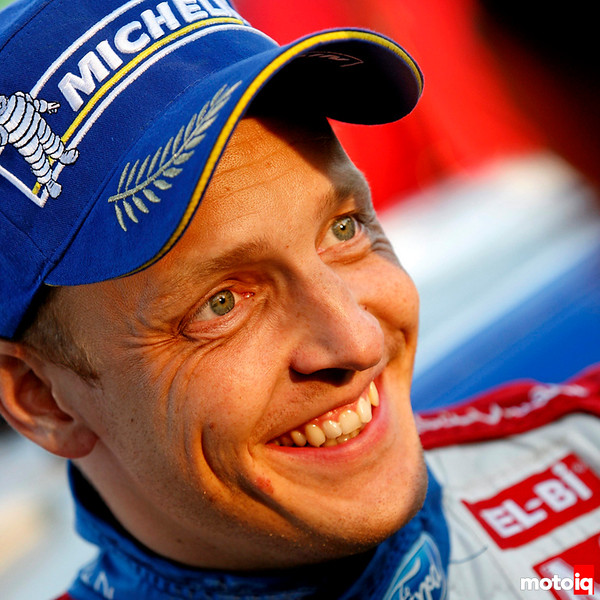 A delighted Mikko Hirvonen wins the 2011 Rally Australia, in his Ford Fiesta RS WRC.