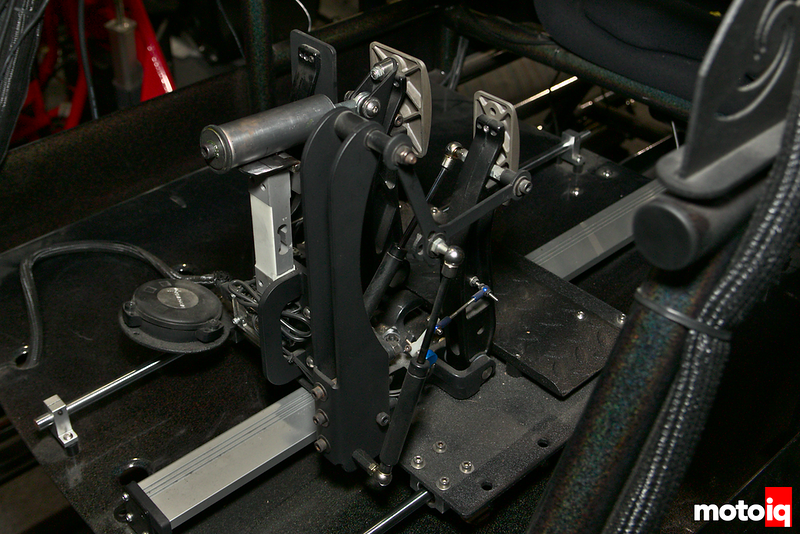 tilton pedal assembly installed in simulator footwell