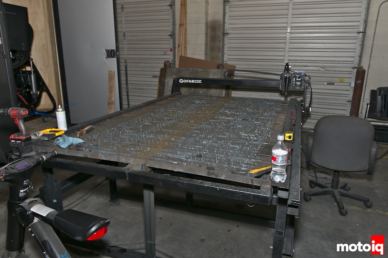 gofab cnc plasma table in front of roll-up door