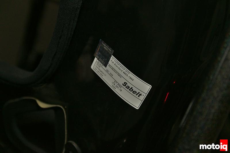 close up of Sabelt FIA certification sticker