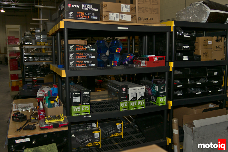 industrial shelving with nvidia RTX video cards, Aorus motherboards, and other PC components