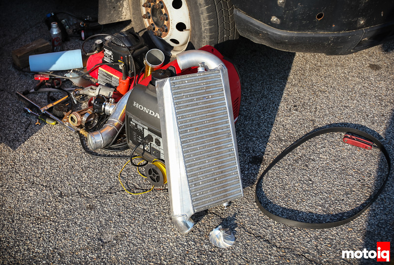 The lonely intercooler on the ground after a supercharger failure