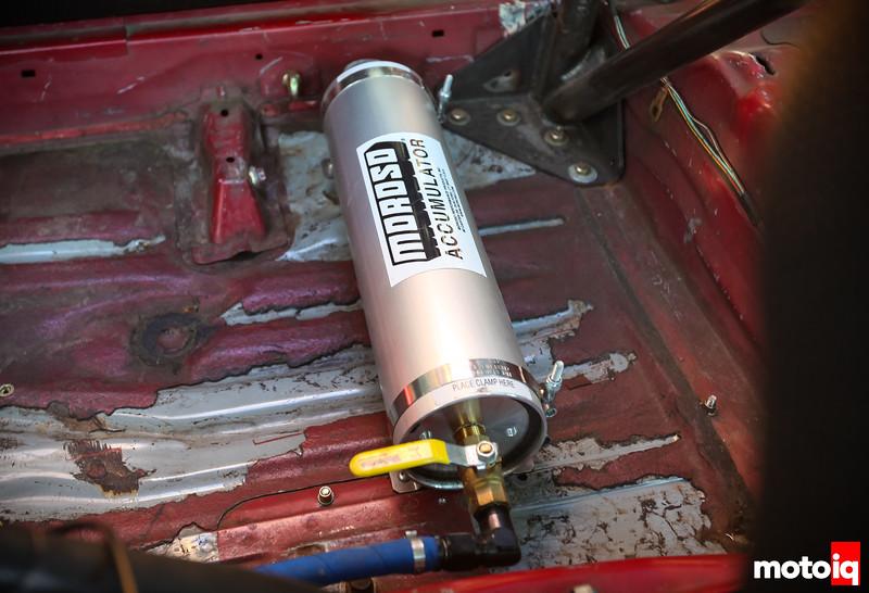 Moroso oil accumulator on the passenger floor