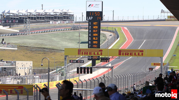 USGP Turn 1 United States grand prix view from front straight start finish