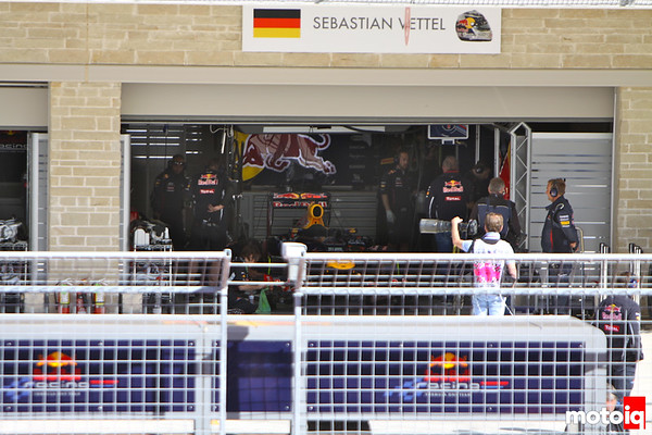 Sebastian Vettel pits paddock USGP united states grand prix 2012