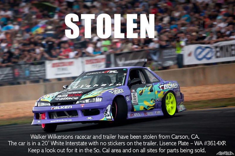 walker wilkerson drift car stolen