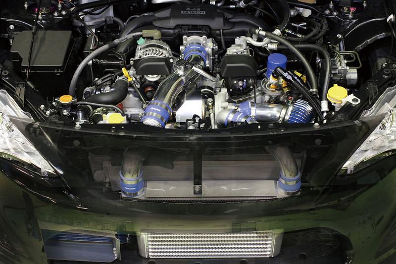 GReddy, FR-S/BRZ T518Z Tuner Turbo Kit, installed, engine bay