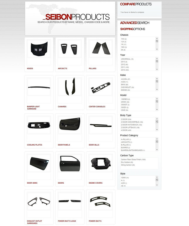 Seibon, Seibon Carbon, Web site, new web site, product search