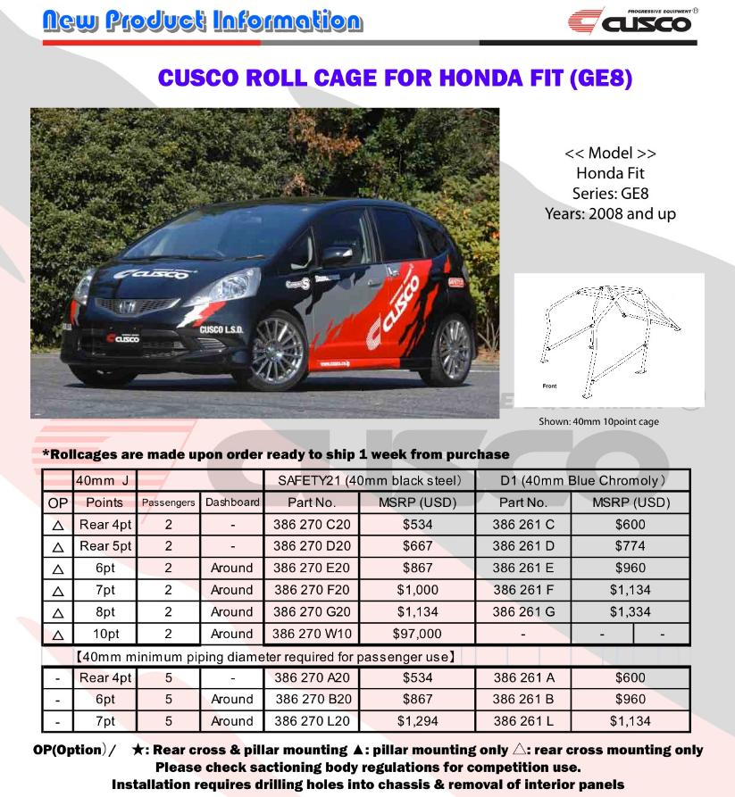 Cusco Rollcage Roll Cage Honda Fit