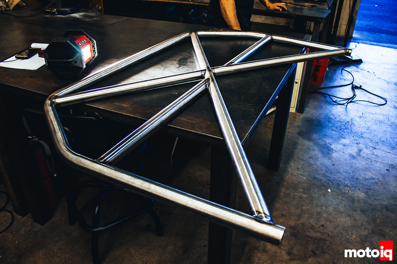 A good, super flat table is used to layout and weld the main hoop and it's internal bars.