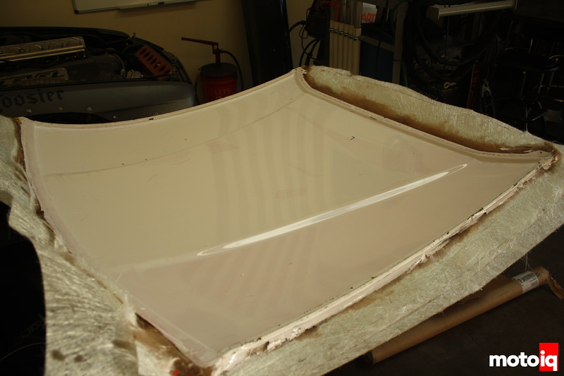 Roof mold after it was pulled off of the car. It gets trimmed, the PVA is washed off, any imperfections are repaired, then it is ready for use.