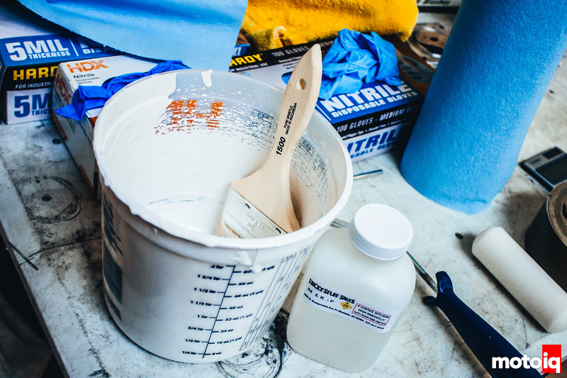 Gel coat. A ton of gloves are necessary when working with resins, fiberglass, and carbon. It can be a messy job.