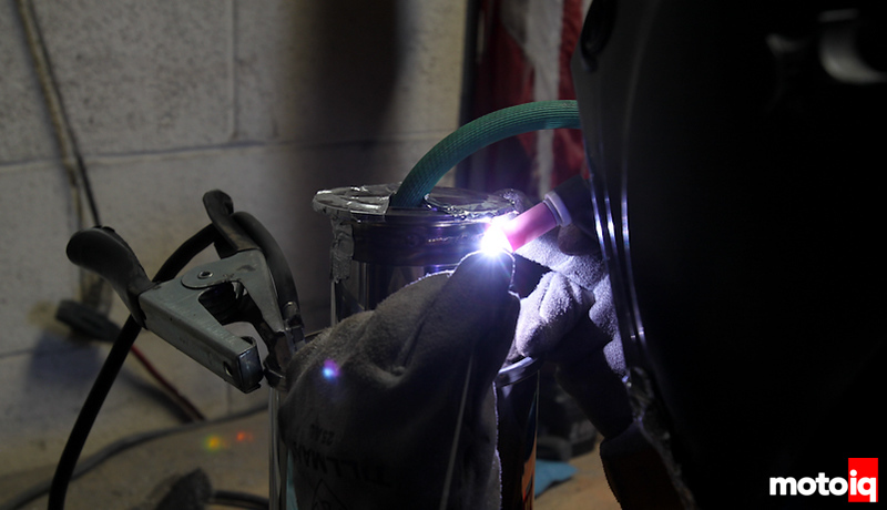 Close up of welding and back purging