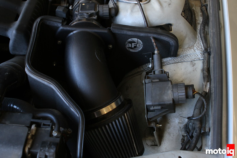 aFe intake installed with rubber seal and cruise control cable notch