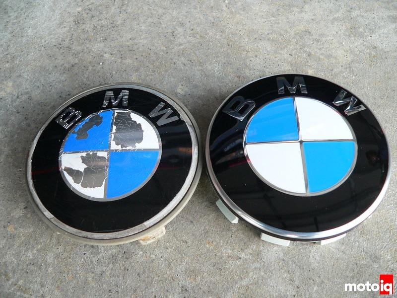 BMW wheel cap Roundels new versus old