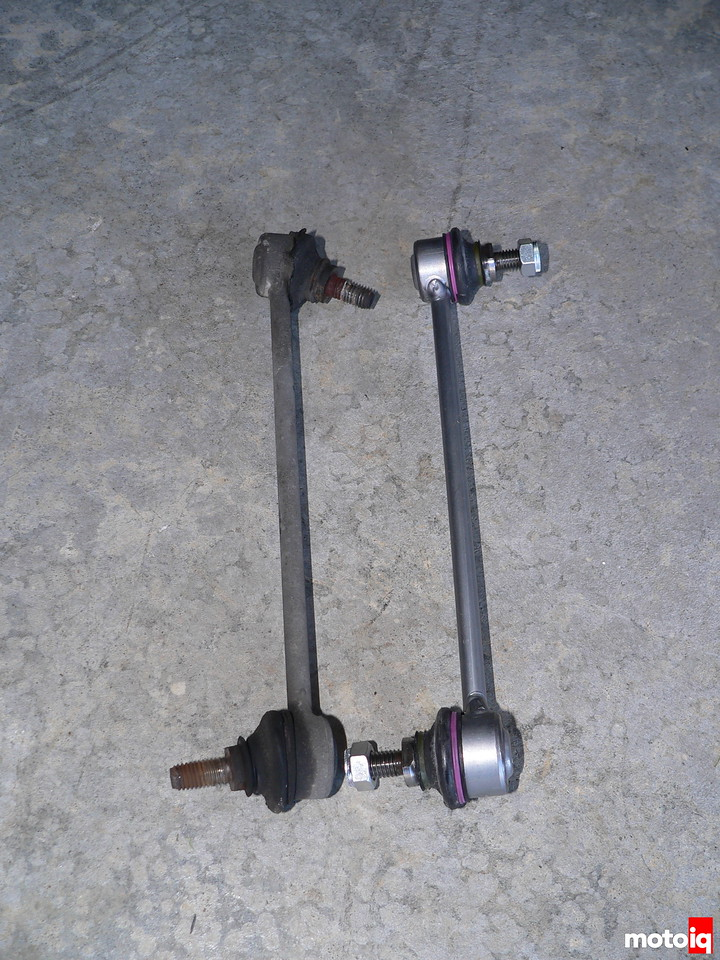 E36 sway bar end link old versus new from Bavarian Autosport