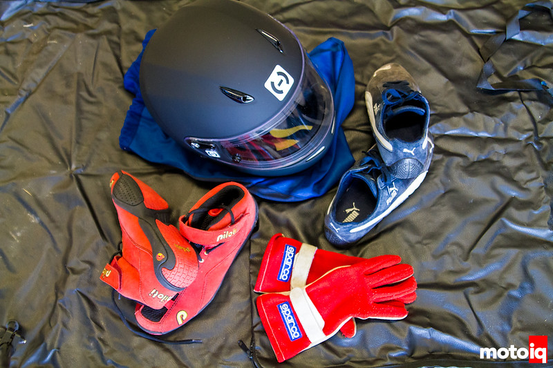 Helmet, driving shoes, gloves
