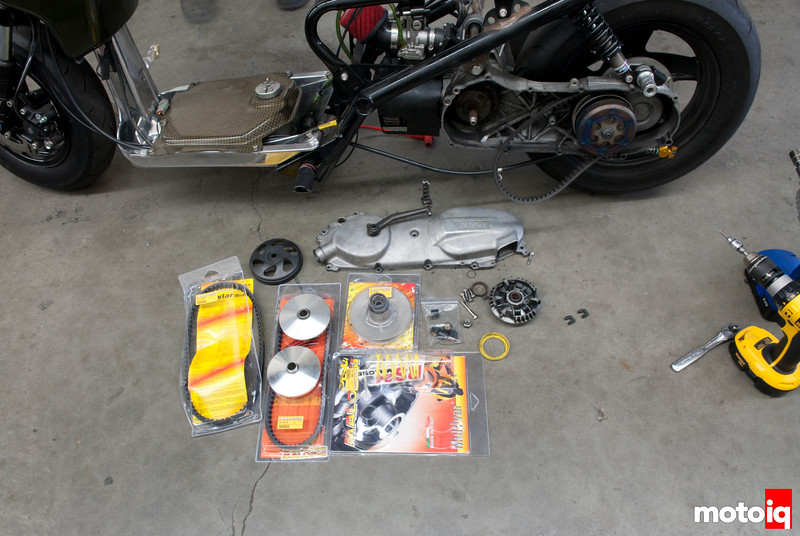 Malossi Grand Axis and Zuma50cc parts.  Malossi MHR Over Range belt, Malossi Over Range Torque Pulley, Malossi Grand Axis 100 Variator, Polini Evo Clutch Bell