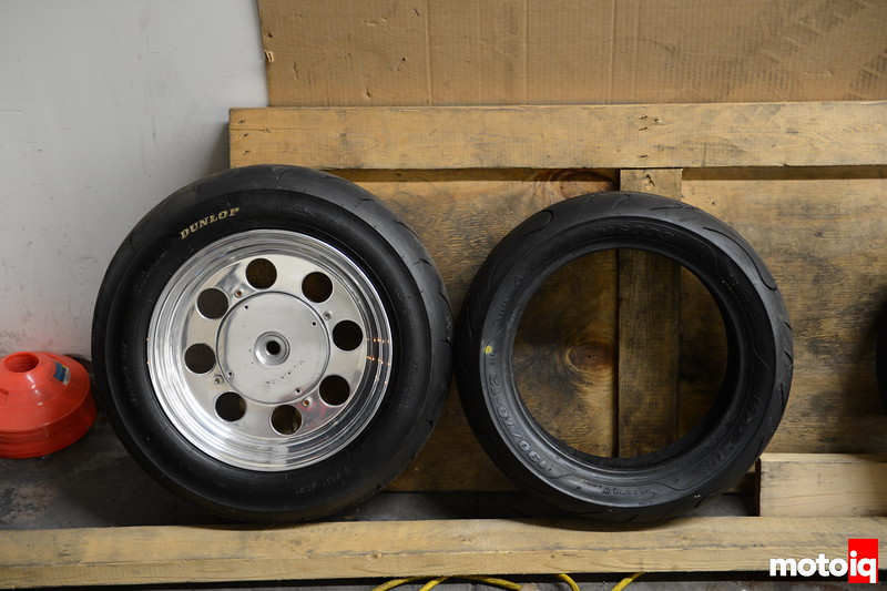 Left: Dunlop Tire TT92 120/80-12 was replace with Maxxis 130/70-12 for better acceleration with Malossi Final Drive