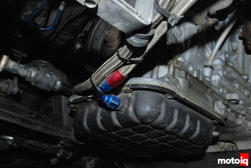 Project Infiniti G20 Racecar oil pan SR20DE oil cooler earl's AN lines stainless bung