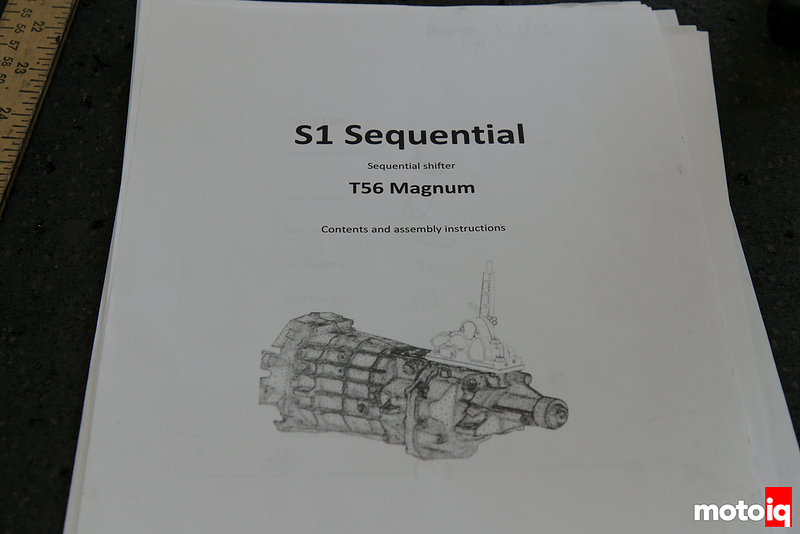 close up of shifter installation manual cover showing line drawing of T56
