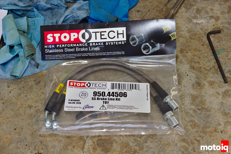 StopTech braided stainless steel brake lines in sealed bag; T-O-Y printed in one part of label
